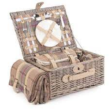 Lavender Tartan Fitted Picnic Basket The Lavender Tartan Fitted Picnic Basket provides all you require for a perfect picnic for two. In full antique wash willow with cream faux leather straps, this basket is not only stylish but practical with its removable chiller compartment for all your tasty picnic treats, a matching blanket as well as white handled cutlery, glasses and porcelain plates. The perfect companion for all your outdoor adventures!