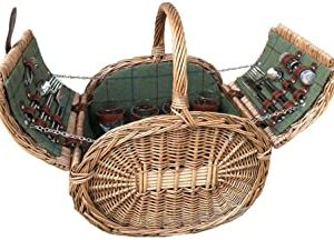 Stylish in shape the Oval Green Tweed Picnic Basket gives an air of luxury with its design. Fitted with crockery, glasses and cutlery for four people, it comes complete with a removable chiller bag to keep all your picnic treats cool. Finished in a light steamed willow, this basket will be the envy on the beach!