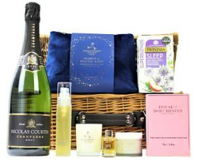 Enjoy a peaceful moment with aromatic and soothing bath, body and skincare products from the Aromatherapy Associates range and make your bedtime routine into an enriching, therapeutic experience. Add a bottle of your choice from our Award Winning selection to accompany luxurious House of Dorchester chocolates and Great Taste winning Sleep tea and make the Restful Sleep Pampering Gift Basket a delight upon receiving.