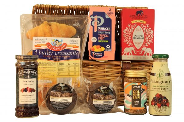 The Breakfast Basket has all you need for the perfect start to the day. Buttery croissants, chocolate muffins, tropical fruit pots. Williamson's breakfast tea and Little's Colombian coffee to name but a few. Presented within a willow hamper basket this gift will set you up for the day ahead.